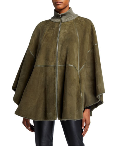 Danika Zip-Front Reversible Shearling Poncho w/ Knit Collar
