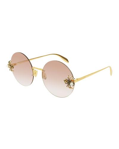 Jeweled Spider Round Rimless Sunglasses
