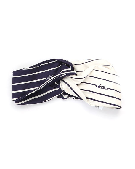 Image 1 of 1: Twill Stripe Two-Tone Knotted Silk Headband