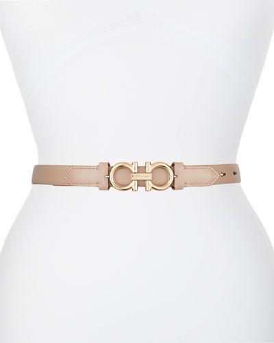 Gancini-Buckle Leather Rolo Belt