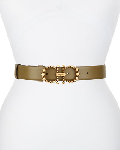 New Bead Gancini Leather Belt