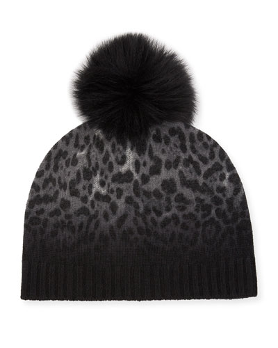 Dip Dye Animal Knit Cashmere Beanie Hat w/ Fur Pompom