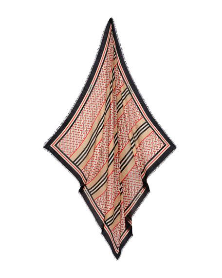 Monogram Stripe Lightweight Gauze Scarf