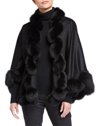 Whipstitch Fox Fur Trim Cashmere U Cape