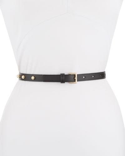 Studded Leather Thin Belt