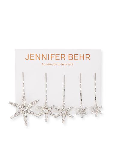 Vespera Crystal Embellished Bobby Pins, Set of 5
