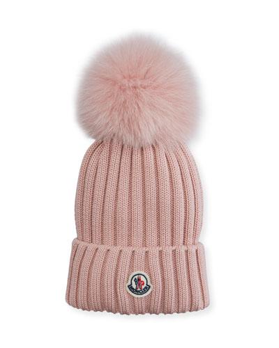 Fur-Pompom Virgin Wool Beanie