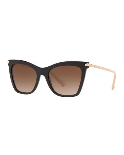Cat-Eye Acetate Rockstud Sunglasses