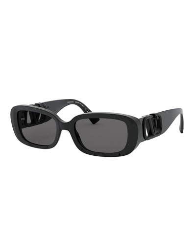 Oval Acetate Sunglasses w/ V Temples