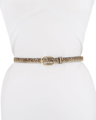 Leopard-Print Leather Belt with Oval-Buckle