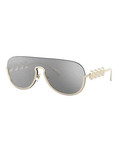 Semi-Rimless Mirrored Shield Aviator Sunglasses