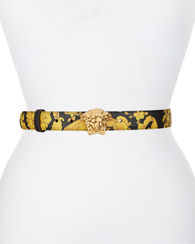 Palazzo Printed Leather Medusa Belt