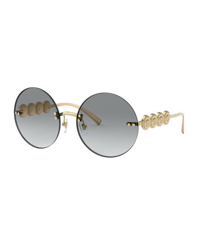 Rimless Round Sunglasses w/ Medusa Arms