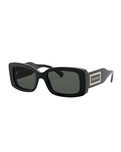 Rectangle Acetate Sunglasses w/ Oversized Logo Temples