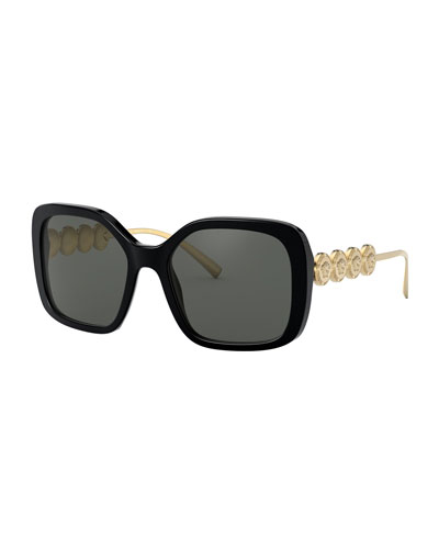 Square Acetate Sunglasses w/ Medusa Arms