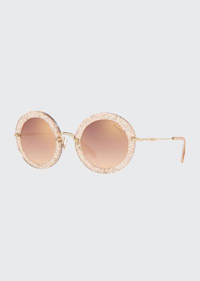 Mirrored Round Glitter Acetate Sunglasses