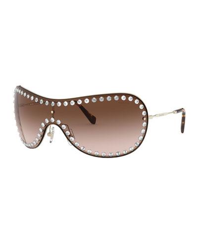 Wrap Shield Sunglasses w/ Crystal Trim