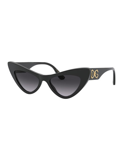 Acetate Cat-Eye Sunglasses w/ Logo Hardware