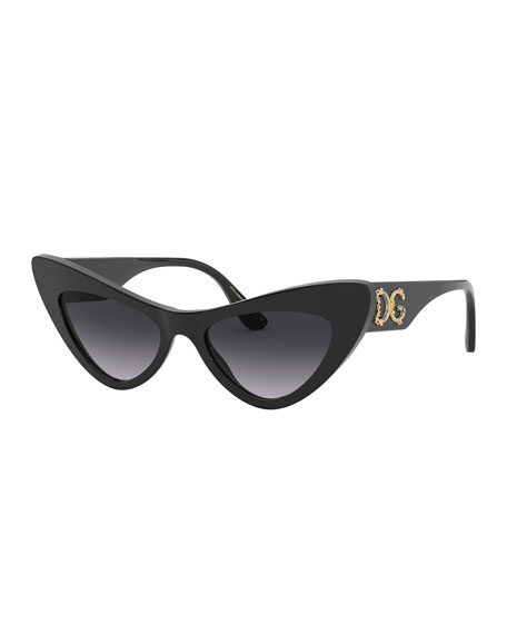 Acetate Cat-Eye Sunglasses w/ Logo Hardware