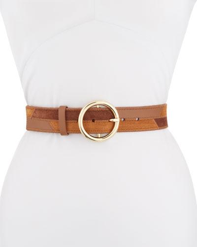 O-Ring Patchwork Leather Belt