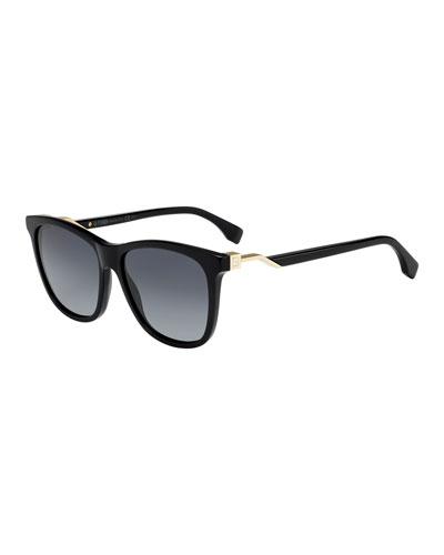 Round Acetate Sunglasses w/ Logo Temples
