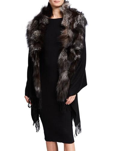 Cashmere Fringe Wrap w/ Fox Fur Trim