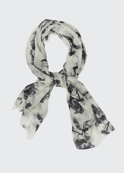 Floral Printed Linen Scarf