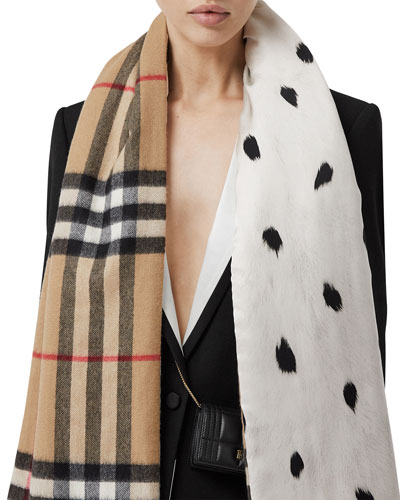 Giant Check Ermine Silk Wadded Scarf