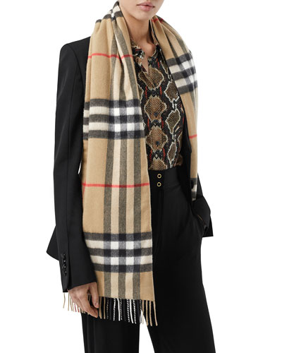 Giant Check Icon Stripe Silk Wadded Scarf