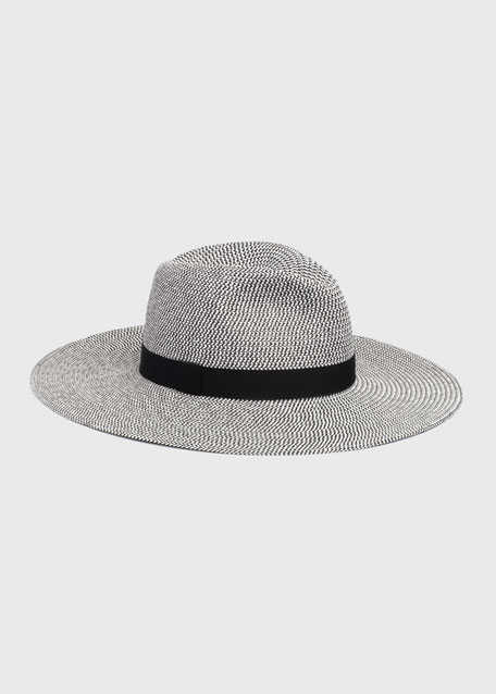 Image 1 of 1: Emmanuelle Two-Tone Packable Wide-Brim Fedora Hat