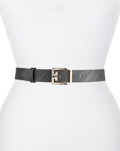 Leather Logo Embossed Belt w/ Double G Buckle