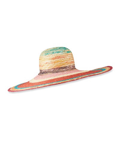 Multicolor Straw Wide Brim Hat