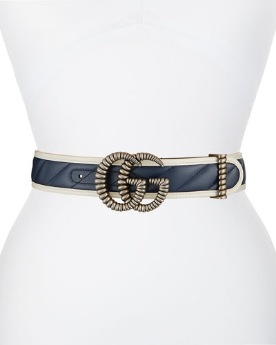 GG Marmont Diagonal Quilted Leather Belt w/ Torchon Double G Buckle