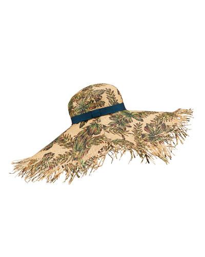 Leaf Print Large Brim Straw Hat
