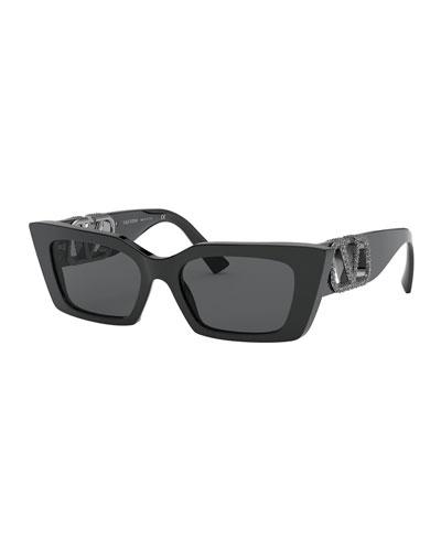 Crystal Embellished Logo Rectangle Sunglasses