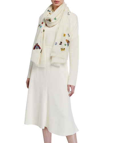 Scattered Butterflies Cashmere Scarf