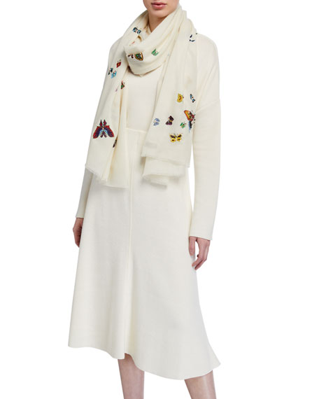 Image 1 of 1: Scattered Butterflies Cashmere Scarf