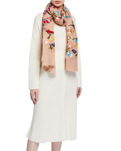 Garden Embroidered Cashmere Stole