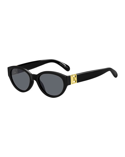 Oval Acetate Sunglasses w/ Metal Logo Hinges