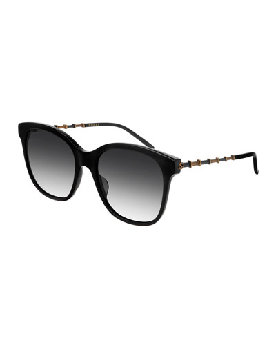 Square Acetate Bamboo Effect Arms Sunglasses