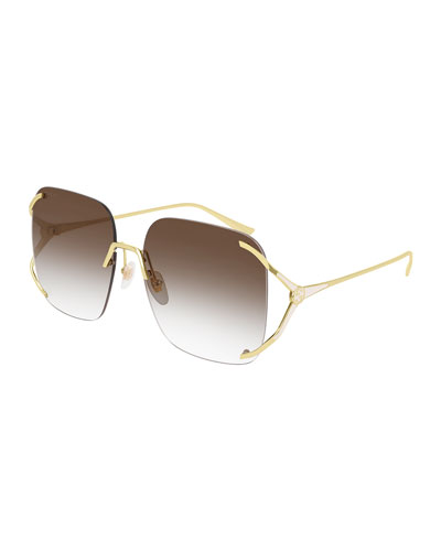 Rimless Square Metal Sunglasses