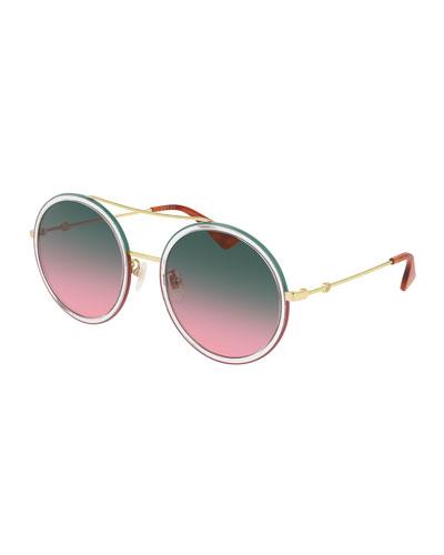 Crystal Acetate & Metal Round Sunglasses
