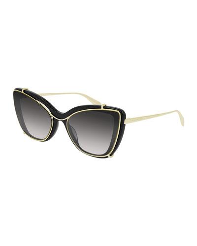 Acetate & Metal Cat-Eye Sunglasses