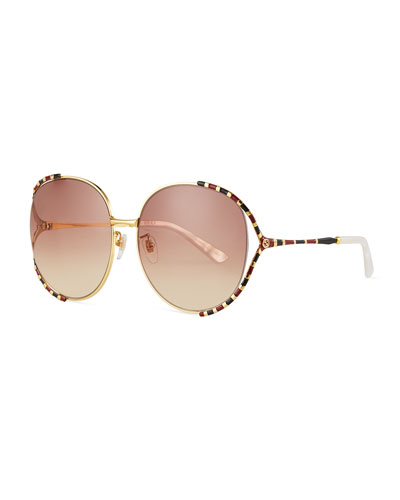 Striped Enamel Round Sunglasses