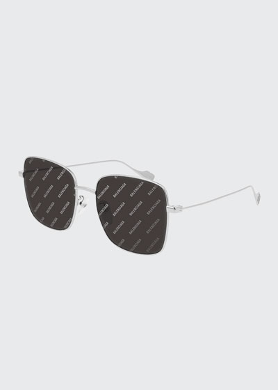 Rectangle Metal Sunglasses w/ Logo Lenses