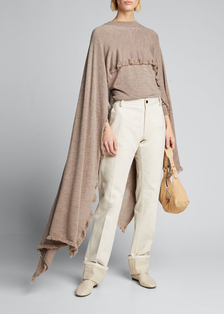 Crewneck Frayed-Edge Wool Cape