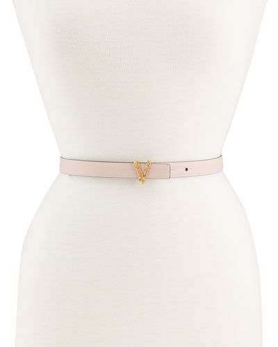 V Logo Calf Leather Belt