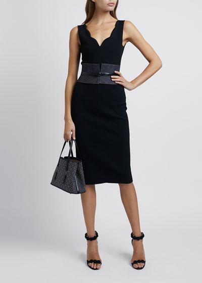 Denim Leather-Trim Corset Belt