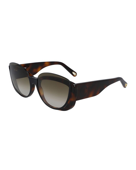 Cayla Semi-Rimless Butterfly Sunglasses