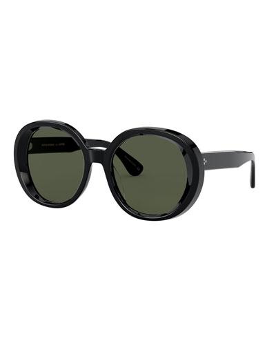 Leidy Round Acetate Sunglasses